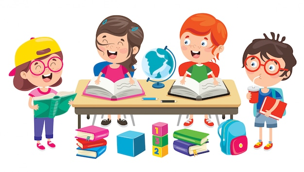 Happy cute cartoon school children