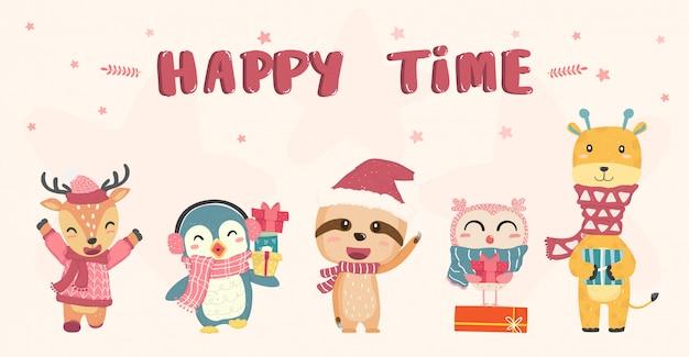 Happy cute dzikich zwierząt w zimowe kostiumy świąteczne rysunek płaski, pomysł na baner