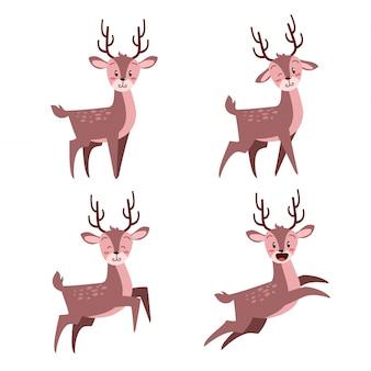 Happy cute jelenia bożego narodzenia z wielu zestaw wypowiedzi
