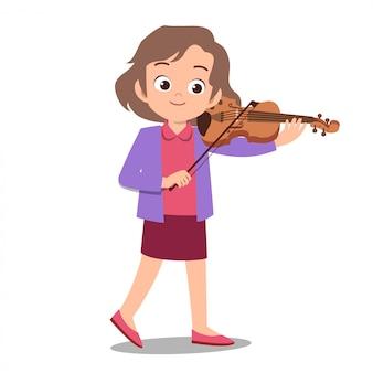 Happy cute teen grać na gitarze śpiewać artystę