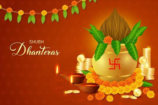 Happy dhanteras, diwali, gold coin kalash, bogini laxmi puja, bogactwo, dobrobyt