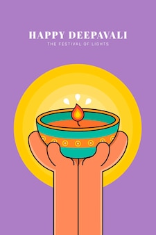 Happy dipavali, święto świateł w tle
