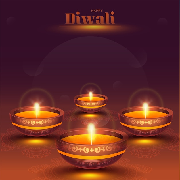 Happy diwali celebration concept with illuminated oil lamps
