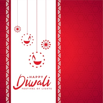 Happy diwali czerwona ozdobna kartka z życzeniami