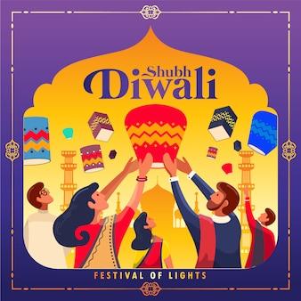 Happy diwali festiwal świateł w tle