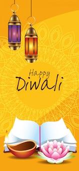 Happy diwali indian celebration design