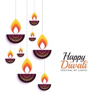 Happy diwali ozdobny projekt karty festiwalu diya