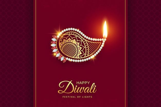 Happy diwali premium złoto diamentowe tło dekoracji diya