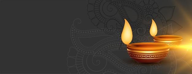 Happy diwali świecący baner z miejsca na tekst