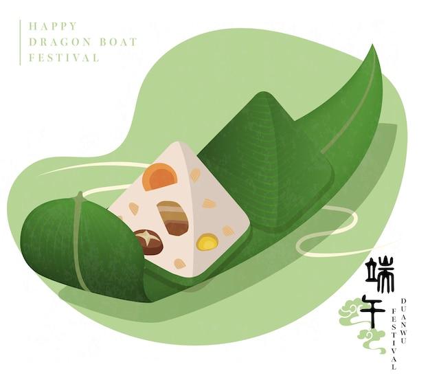 Happy dragon boat festival tradycyjne jedzenie kluska ryżowa i liść bambusa. tłumaczenie chińskie: duanwu