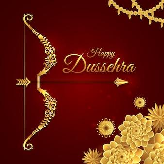 Happy dussehra, pozdrowienie ze złotym łukiem na festiwalu navratri, vijayadashami, durga pooja