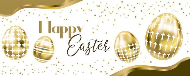 Happy easter banner z czterema metalicznymi złotymi jajkami