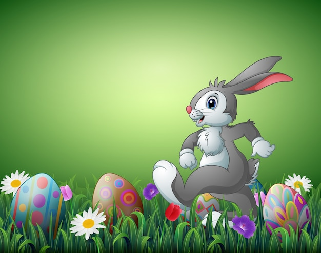 Happy easter bunny cartoon