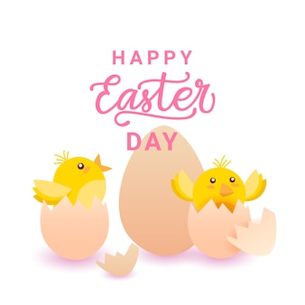 Happy easter day card z żółtym kurczakiem w jajku