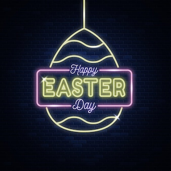 Happy easter day neon sign style text
