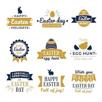 Happy easter design collection - zestaw dwunastu ciemnych kolorowych wzorów etykiet wielkanocnych w stylu vintage na jasnym tle