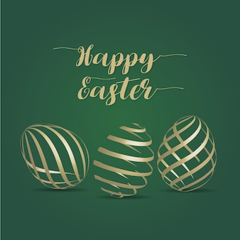 Happy easter golden eggs card