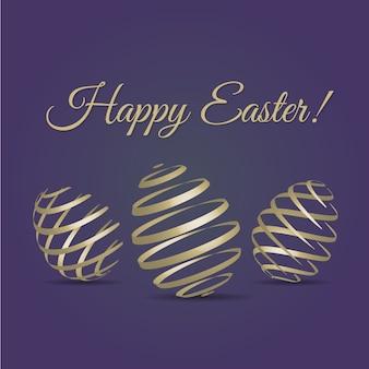 Happy easter greetings card z golden egg
