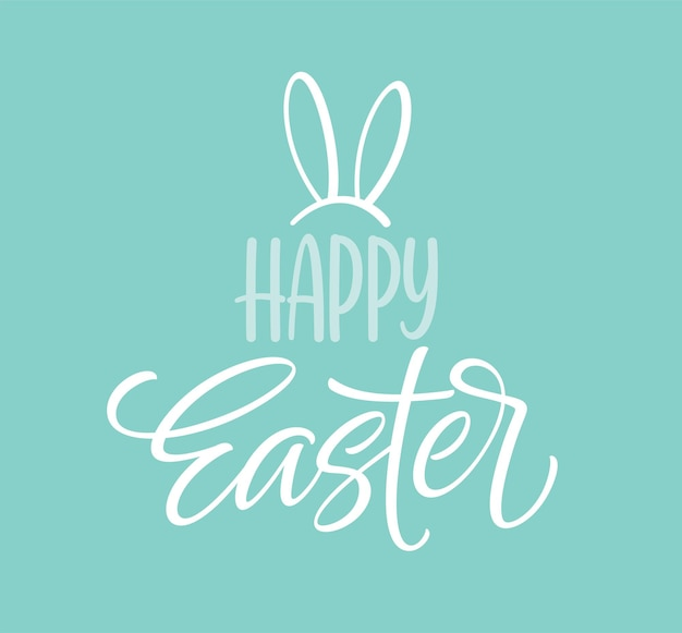 Happy easter ikona symbol. pismo odręczne z uszami królika. ilustracja wektorowa eps10