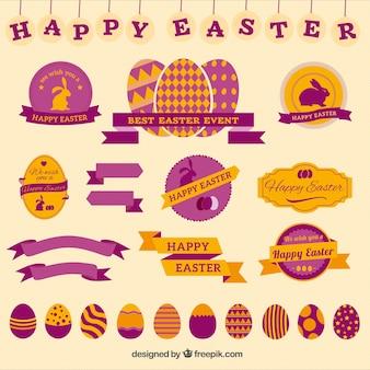 Happy Easter Odznaki Darmowych Wektorów