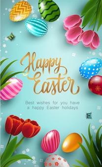 Happy easter plakat z kolorowymi jajkami wielkanocnymi i kwiatami tulipanów na niebieskim tle. szablon karty z pozdrowieniami prezent i zaproszenie na wielkanoc. szablon transparentu na zakupy, sprzedaż i rabaty. ilustracja wektorowa