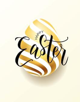Happy easter strony napis z realistycznym złotym jajkiem.