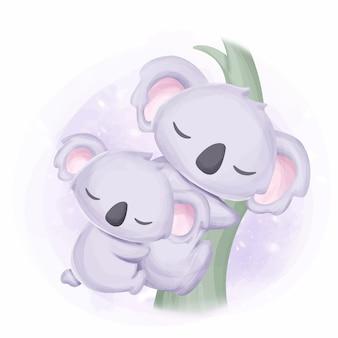 Happy family mommy and kid koala