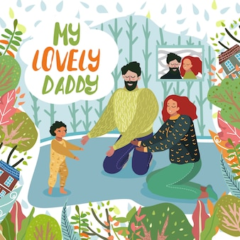 Happy fathers day greeting card, rodzice i dziecko