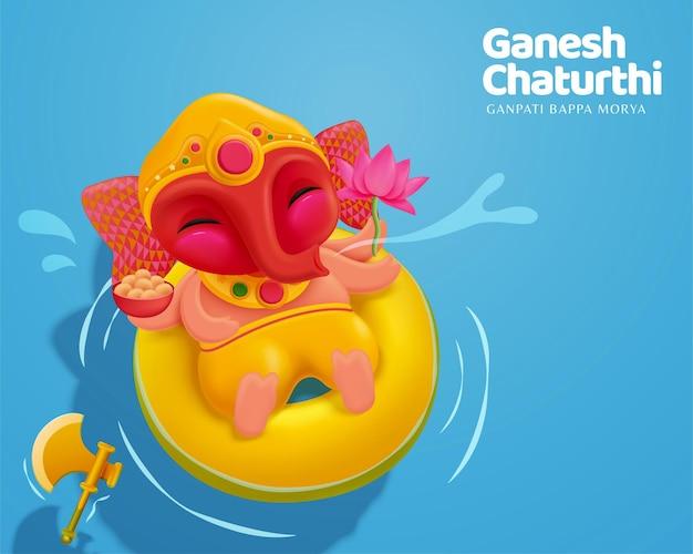 Happy ganesh chaturthi z uroczym dzieckiem ganesha unoszącym się na wodzie, widok z góry