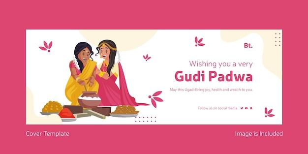 Happy gudi padwa indian festival z indyjskimi kobietami gotującymi razem jedzenie szablon okładki na facebooka