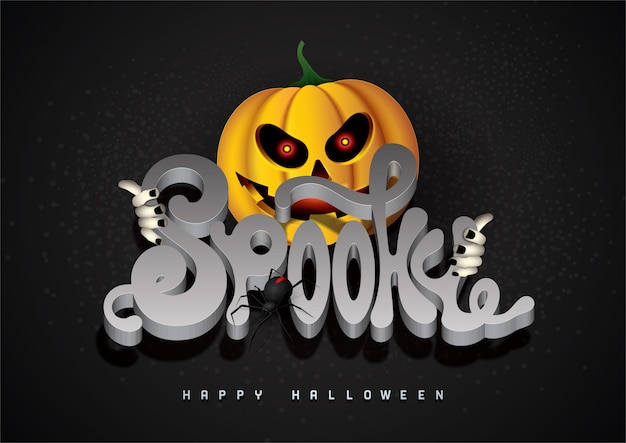 Happy halloween background with spooky 3d font