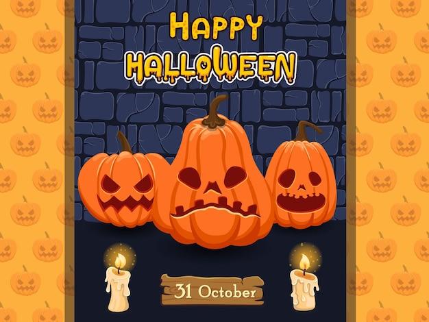 Happy halloween banery dyni znaków. koncepcja kreskówka halloween elementy. ilustracja wektorowa clipart na starym tle ściany
