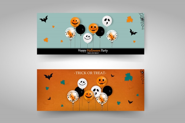 Happy halloween banery scenografia. cukierek albo psikus. happy halloween party. zestaw bannerów halloween kreskówek. ilustracji wektorowych