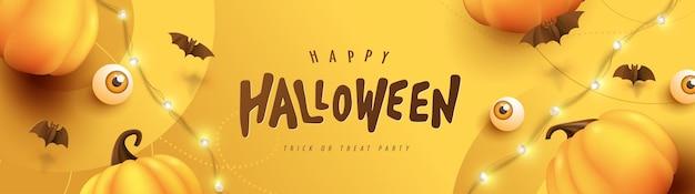 Happy halloween banner lub tło zaproszenie na przyjęcie z dyniami elementy świąteczne halloween