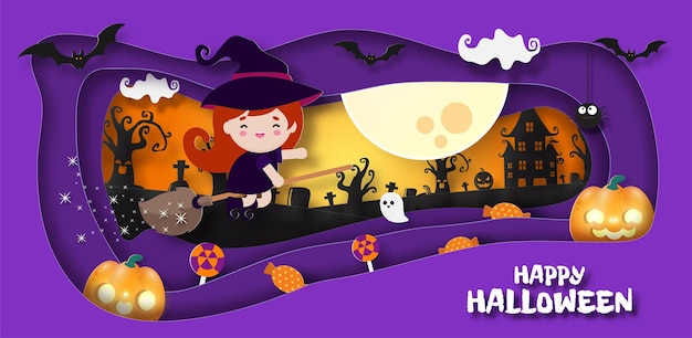 Happy halloween banner paper cut style wiedźma leci na miotle plakat zabawa party trick or treat