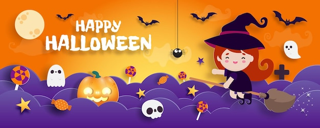 Happy Halloween Banner Paper Cut Style Wiedźma Leci Na Miotle Plakat Zabawa Party Trick Or Treat Premium Wektorów
