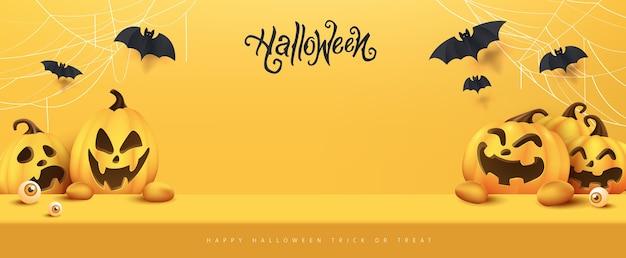 Happy halloween banner wyświetlacz produktu w pokoju stołowym studio z miejsca na kopię