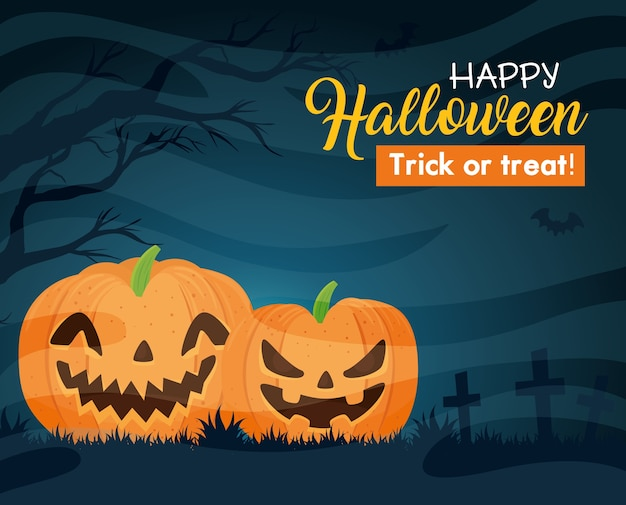 Happy halloween banner z dyni, latające nietoperze i suche drzewo