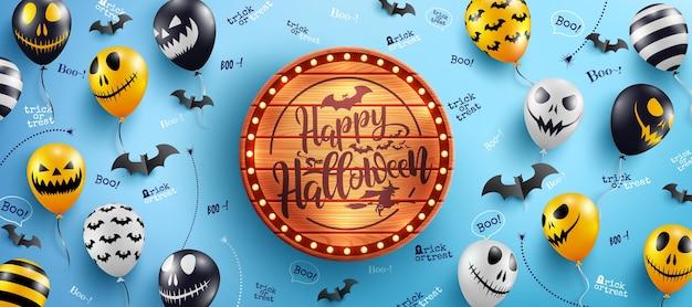 Happy halloween banner z halloweenowym tekstem na vintage drewnianej desce i halloween ghost balloons