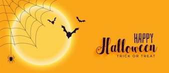 Happy halloween banner z pająka i latające nietoperze