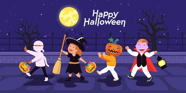 Happy halloween banner z postaciami
