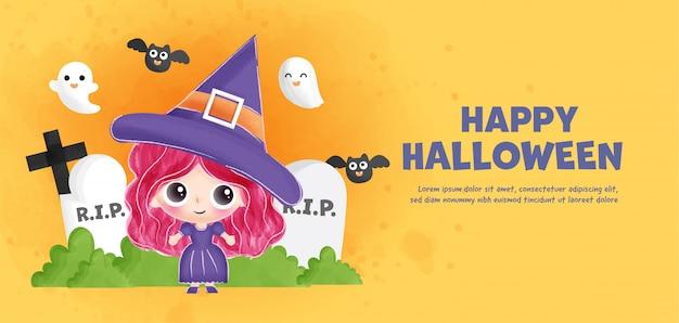 Happy halloween banner z uroczą czarownicą.