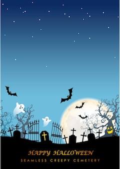 Happy halloween bez szwu ilustracji z księżycem