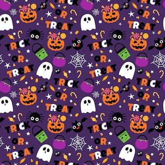 Happy halloween bezszwowe tło wzór zestaw