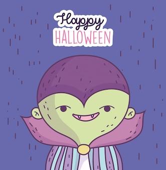Happy halloween celebracja chłopiec z kostiumem potwora