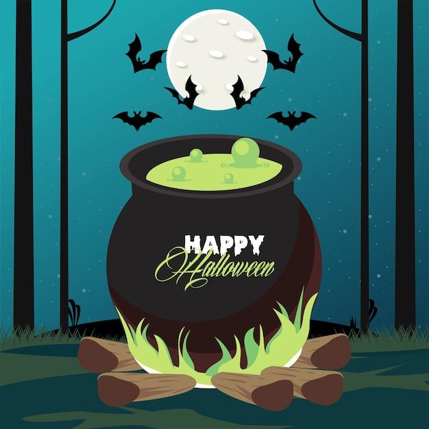 Happy halloween celebracja karta z kotłem i latającymi nietoperzami.