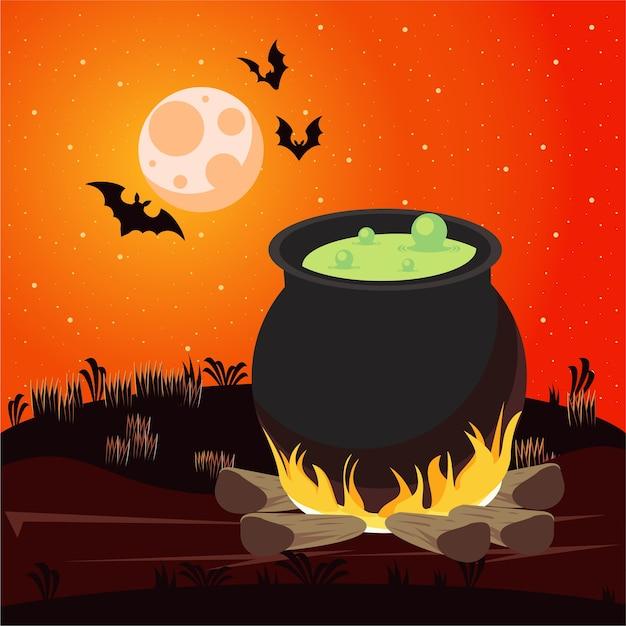 Happy halloween celebracja karta z kotłem i nietoperzami latającymi sceną.