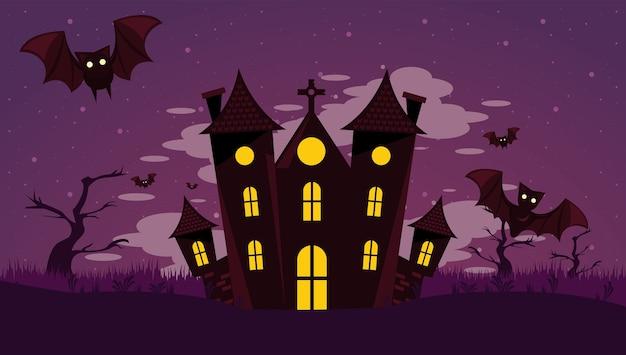 Happy halloween celebracja karta z nawiedzonym zamkiem i latającymi nietoperzami