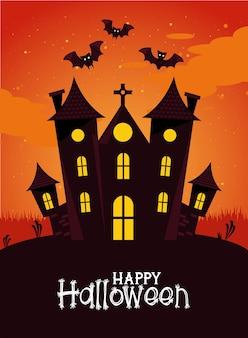 Happy halloween celebracja karta z nawiedzonym zamkiem i nietoperzami