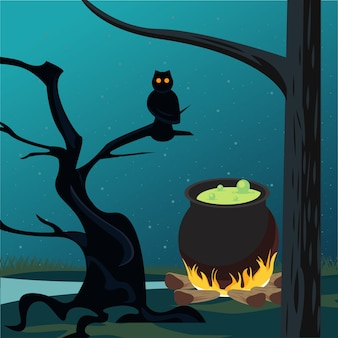 Happy halloween celebracja karta ze sceną kocioł i sowa.